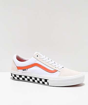 Vans Old Skool Pro Checkerboard White & Orange Skate Shoes