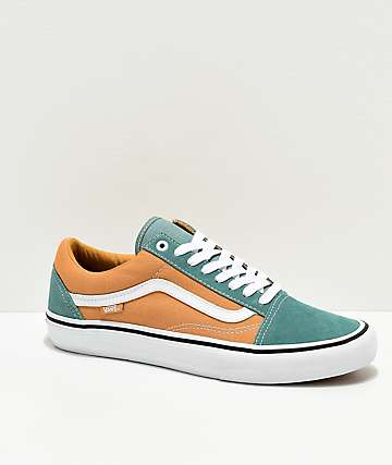 Vans Old Skool Pro Oak Buff & Oil Blue Skate Shoes