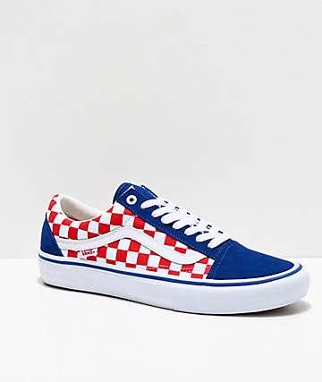 Vans Old Skool Pro zapatos de skate azules, rojos y blancos de cuadros