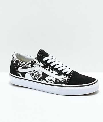 Vans Old Skool Skulls Black & White Skate Shoes
