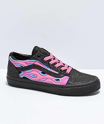 Vans Old Skool Sparkle Flame Pink & Black Skate Shoes