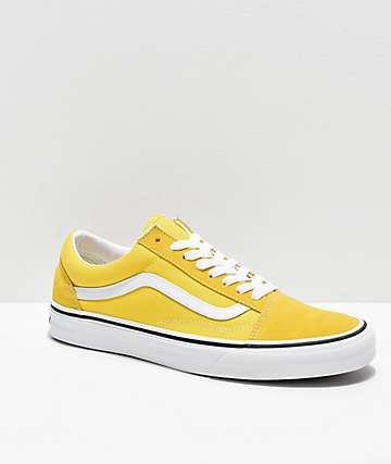 Vans Old Skool Vibrant Yellow & White Skate Shoes