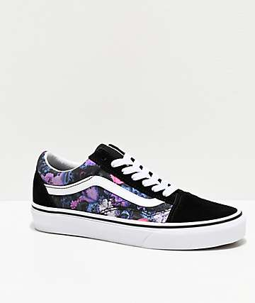 Vans Old Skool Warped Floral & Black Skate Shoes