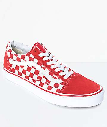 Vans Old Skool zapatos de skate de cuadros rojos y blancos
