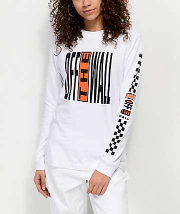 Vans Pinnacle White & Orange Long Sleeve T-Shirt
