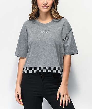 Vans Roller Party Reflective Grey & Black Checkerboard Crop T-Shirt
