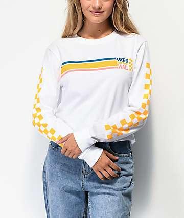 Vans Sideline White Crop Long Sleeve T-Shirt