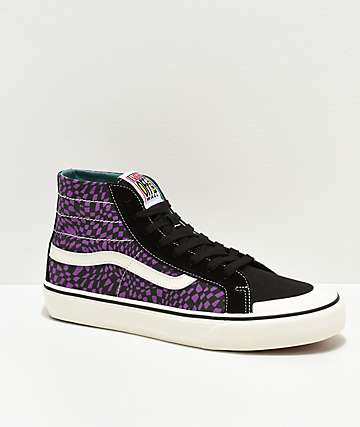 Vans Sk8-Hi 138 SF Warp Check Purple & Black Skate Shoes