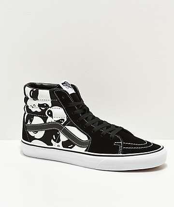 Vans Sk8-Hi Alien Ghost Black & White Skate Shoes