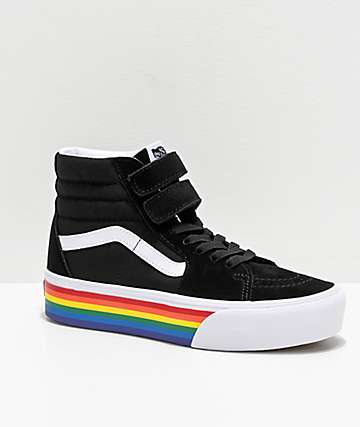 Vans Sk8-Hi Black, White & Rainbow V Platform Shoes