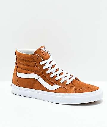 Vans Sk8-Hi Brown & White Pig Suede Skate Shoes