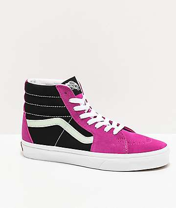 Vans Sk8-Hi Fuschsia Red & Aqua Foam Blue Skate Shoes