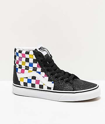 Vans Sk8-Hi Glitter Checkerboard Black & White Skate Shoes