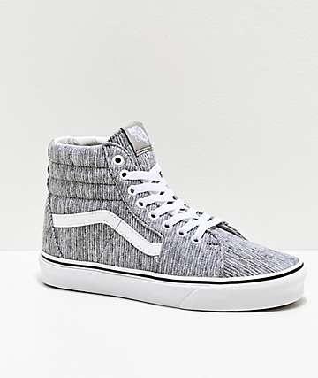 Vans Sk8-Hi Grey Ribbed Knit Skate Shoes