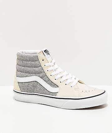 Vans Sk8-Hi Herringbone Grey & White Skate Shoes