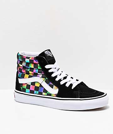 Vans Sk8-Hi Iridescent Checkerboard Skate Shoes