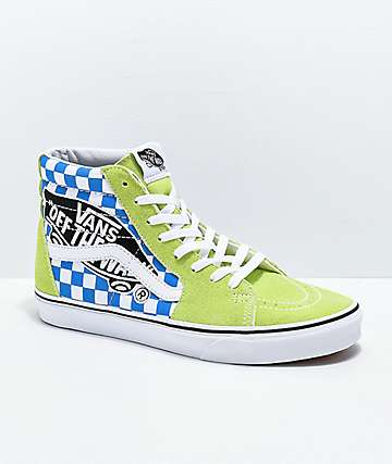 Vans Sk8-Hi Logo Patch Green & Blue Checkered Skate Shoes