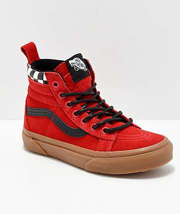 Vans Sk8-Hi MTE Checkerboard & Red Shoes