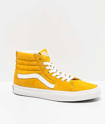Vans Sk8-Hi Mango Mojito & True White Pig Suede Skate Shoes