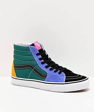 Vans Sk8-Hi Mix Colorblock Yellow & Tidepool Skate Shoes