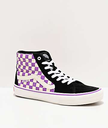 Vans Sk8-Hi Pro Black & Dewberry Checkerboard Skate Shoes