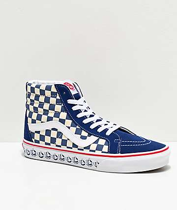 Vans Sk8-Hi Reissue BMX Checkerboard Navy, White & Red Skate Shoes