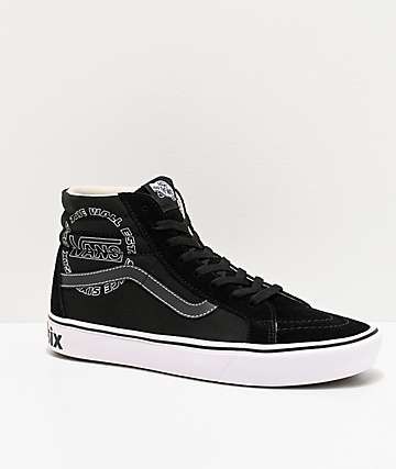 Vans Sk8-Hi Reissue ComfyCush Distort Black & White Skate Shoes