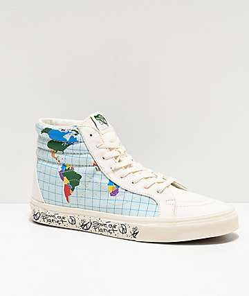 Vans Sk8-Hi Reissue Save Our Planet White & Multicolor Skate Shoes