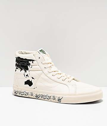 Vans Sk8-Hi Reissue Save Our Planet zapatos de skate blancos y negros