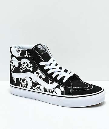 Vans Sk8-Hi Skulls Black & White Skate Shoes