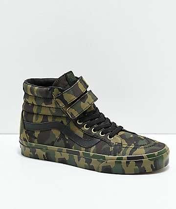 Vans Sk8-Hi Tumble Reissue V Green Camo Skate Shoes