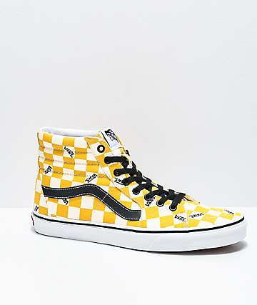black and white checkered vans with yellow