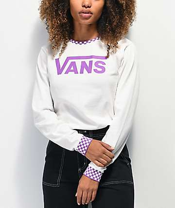 Vans Skate Check White & Purple Long Sleeve T-Shirt