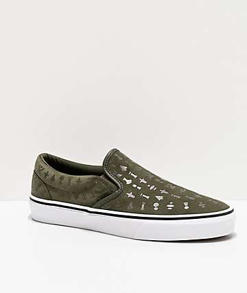 Vans Slip-On Area 66 Grape Leaf & White Skate Shoes