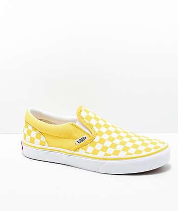 Vans Slip-On Aspen zapatos de skate de cuadros dorados y blancos
