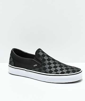 Vans Slip-On Black & Grey Checkerboard Skate Shoes