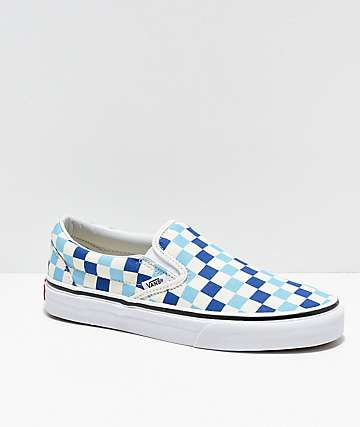 Vans Slip-On Blue, Topaz & White Checkered Canvas Skate Shoes