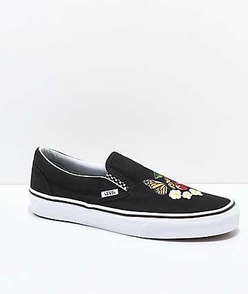 Vans Slip-On Checker Floral Black Skate Shoes