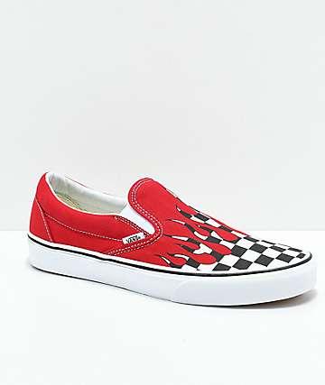 Vans Slip-On Checkerboard Flame zapatos de skate rojos y negros