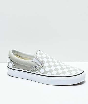 Vans Slip-On Desert Sage & True White Checkerboard Skate Shoes