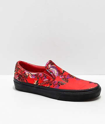 Vans Slip-On Festival Satin Red Skate Shoes