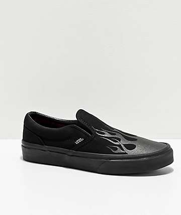 Vans Slip-On Flame Black Skate Shoes