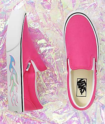 Vans Slip-On Flame Pink Platform Shoes