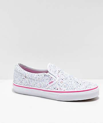 Vans Slip-On Glitter Stars White Skate Shoes