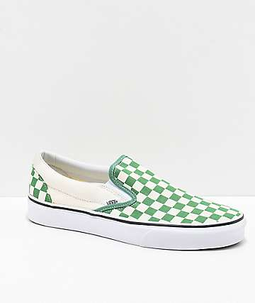 Vans Slip-On Green & White Checkerboard Skate Shoes