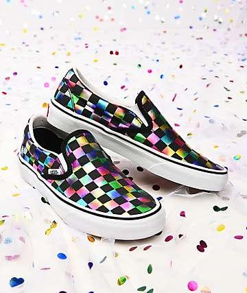 Vans Slip-On Iridescent & White Checkerboard Skate Shoes