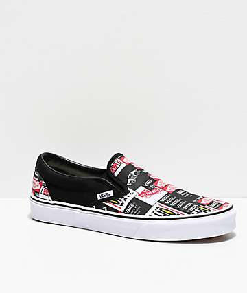 Vans Slip-On Label Mix Black & White Skate Shoes