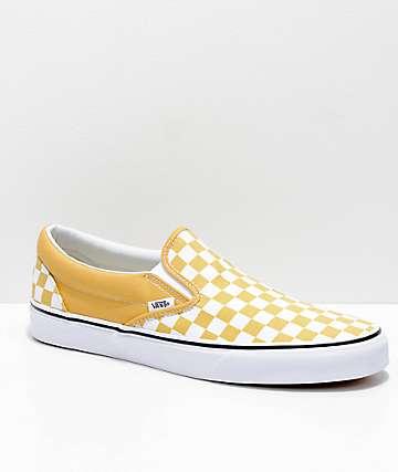 Vans Slip-On Ochre & White Checkerboard Skate Shoes