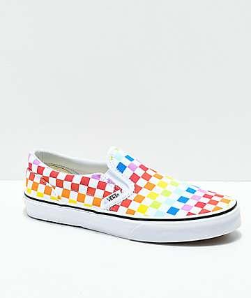 Vans Slip-On Pro zapatos de skate a cuadros arcoíris