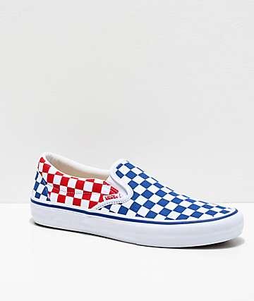Vans Slip-On Pro zapatos de skate azules, rojos y blancos de cuadros